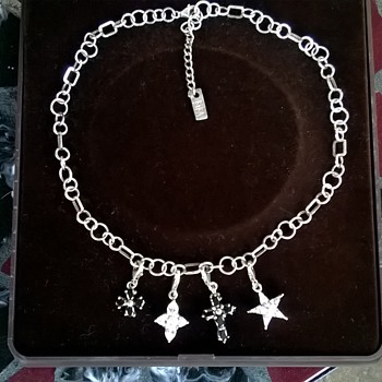 Biba Sterling Silver Necklace With Four .925 Crystal Pendant Charms, Flea Market Find $1.00  - Fine Jewelry