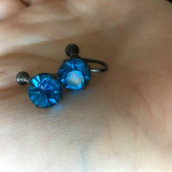 Sterling silver earrings with blue stones. - Fine Jewelry