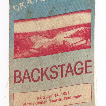 Grateful Dead stage pass, 1981 - Music Memorabilia