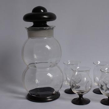 Bohemian Cocktail Shaker and Glasses - Art Glass