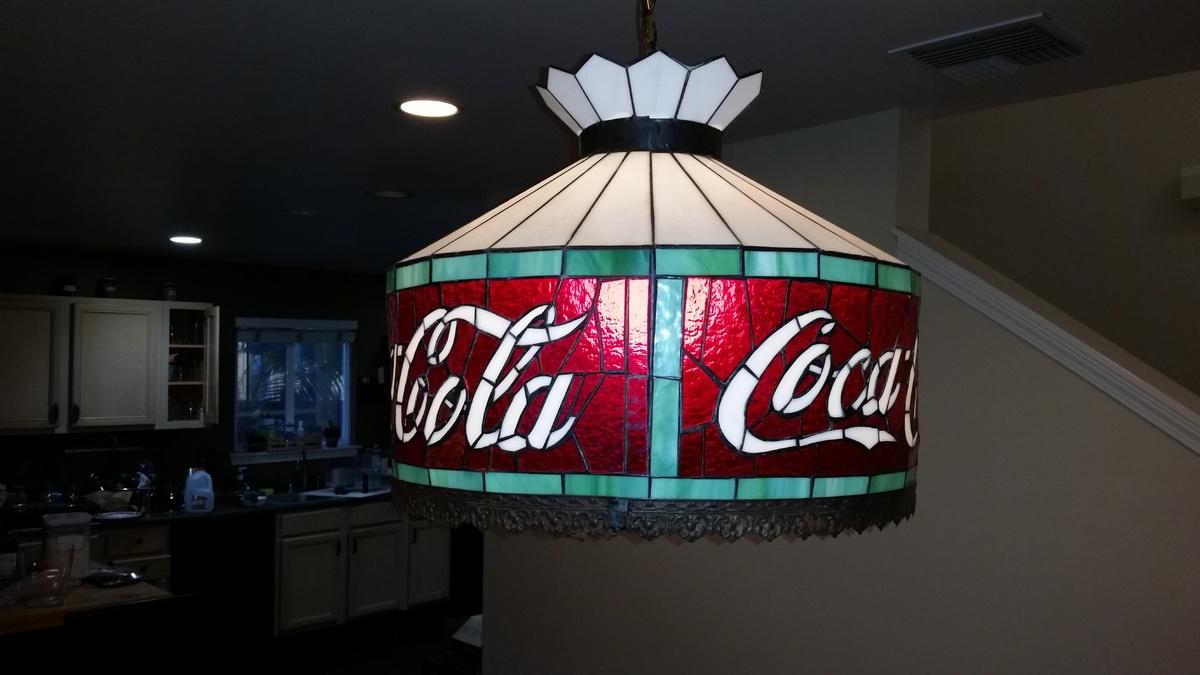 Coca cola swag hanging lamp collectors weekly arubaitofo Image collections