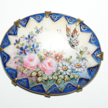 Hand Painted Porcelain Pendant - Costume Jewelry