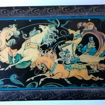 "Russian Lacquered Fairy Tale Troika ""Three Horses"" Trinket Box Flea Market Find 1 Euro ($1.07)) - Furniture"