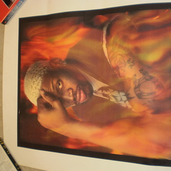 Dennis Rodman Thinker Pose Lithograph