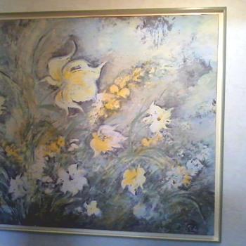Signed Dietrich Grunewald Floral Serigraph - Fine Art