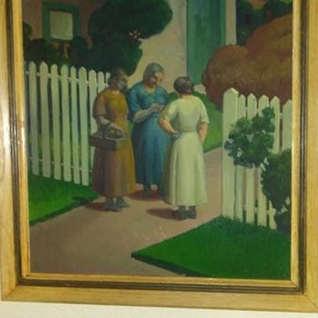 "1930's regionalist oil on canvass board ""circle of grant wood"". - Fine Art"