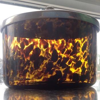 Antique Tortoise shell art glass, lidded pot. - Art Glass