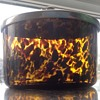 Antique Tortoise shell art glass, lidded pot.
