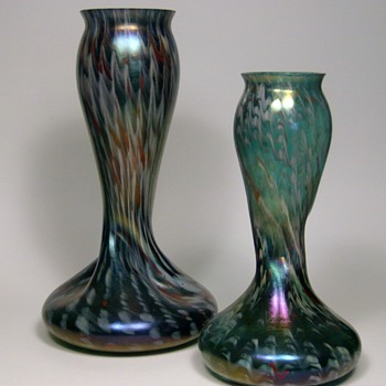 Pair of Rindskopf Confetti Vases - Art Glass