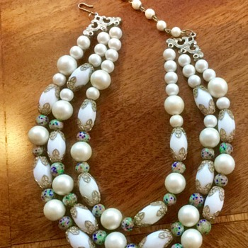 Milk glass, Pearls, and Wedding Cake Bead Choker. Old or Newer? - Costume Jewelry