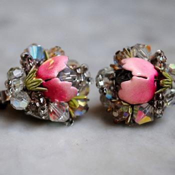 Vendome aurora borealis enamel flower earrings