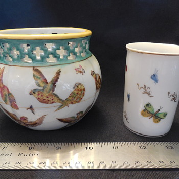 Zsolnay Pecs Look, Birds And Bugs Pottery Jardiniere, and a  Lenvile-Ardalt Butterflies & Lady Bugs Juice Tumbler