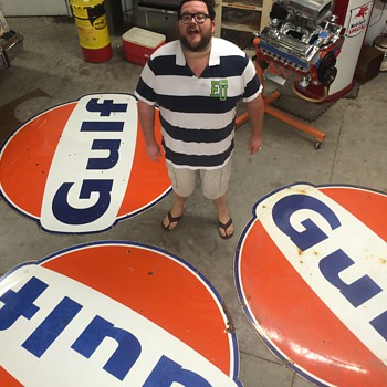 Gulf signs 6ft | Collectors Weekly