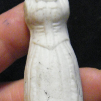 "Antique? Unglazed 4"" doll with both Man and Woman sides - Figurines"