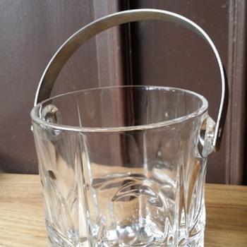 Crystal Ice Bucket with Chrome Handle