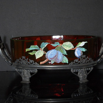 Cranberry cased in vaseline with coralene decoration. Unknown maker - Art Glass