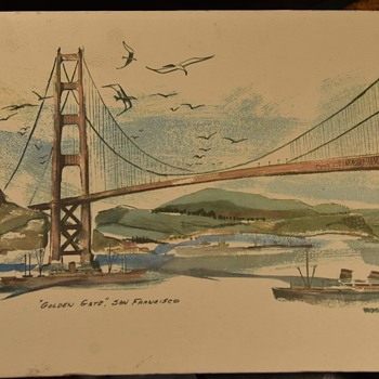 1952 Print of the Golden Gate Bridge - by Newhouse - Fine Art