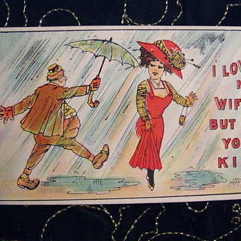 "SHEET MUSIC AND POSTCARD MATCH UP  "" I LOVE MY WIFE BUT OH YOU KID"" 1909 - Music Memorabilia"