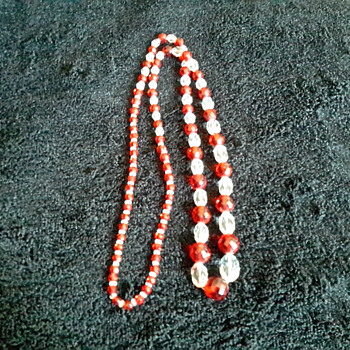 Vintage Red and Clear Crystal necklace