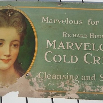 Pre-1920's Cardboard Trolley Cosmetic Product Sign - Signs