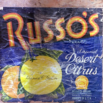 RUSSO'S crate label