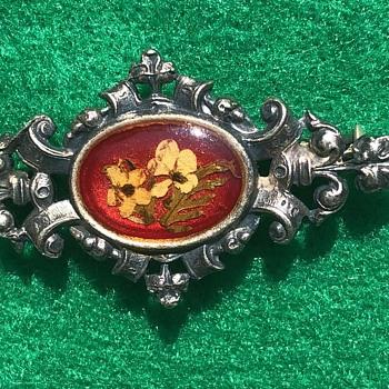 Dried Flower Brooch Pot Metal - Costume Jewelry