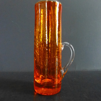Pilgrim Art Glass orange crackle #606 Benedictine shot glass with applied handle - Art Glass