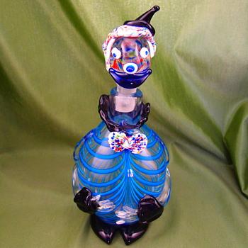Blue and black clown decanter - Art Glass