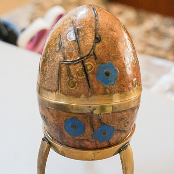 Vintage Hand Enameled Brass Egg Trinket Box with Stand - Asian