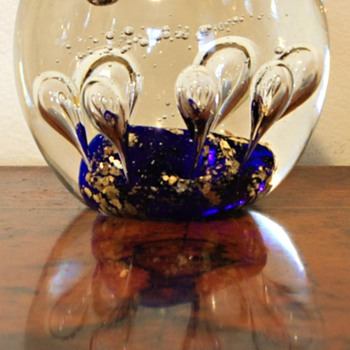 Glass Paperweight controlled bubbles blue base and gold flecks