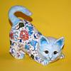 Handmade/Painted Ceramic Floral Cat