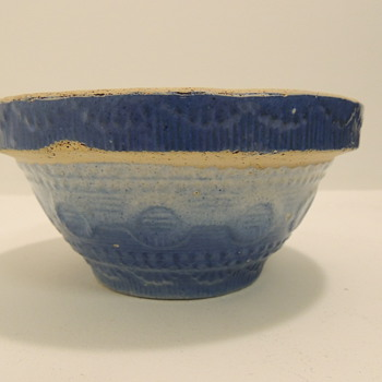 Blue & White Stoneware Berry/Cereal Bowl - Late 1800's - Kitchen