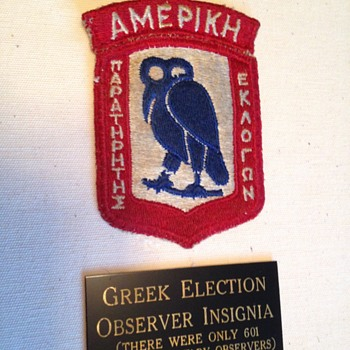 Rarely seen Insigne for Allied Mission for Observing Greek Election (AMFOGE) - Politics