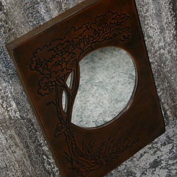 "? 60's-70's ""Reflections In Leather Decor Mirror"" by Oden ~ VERY Boho! Maybe Folk Art ? ~ 1960's-1970's Tree Mushrooms Moon ?"