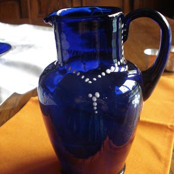 Cobalt glass pitcher