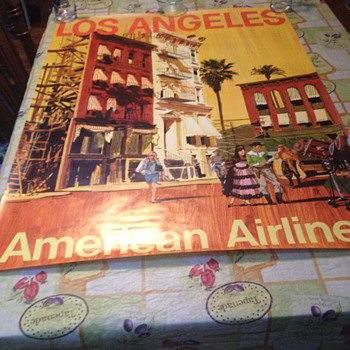 REAL OR REPRO? Awesome Flea market find 30x40 AMERICAN AIRLINES TRAVEL POSTER