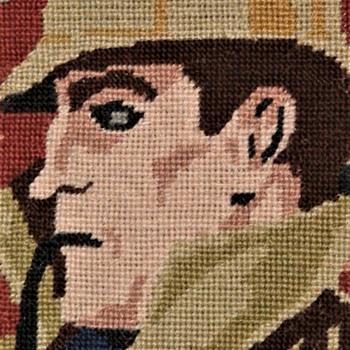 Vintage needlepoint Sherlock Holmes Charing Cross - Sewing