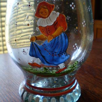Early Hand Enameled Stein/Beaker - Art Glass