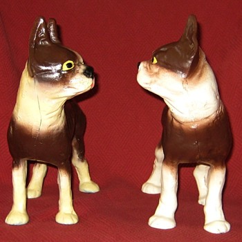 Vintage Left and Right Facing Boston Terrier Doorstops - Animals