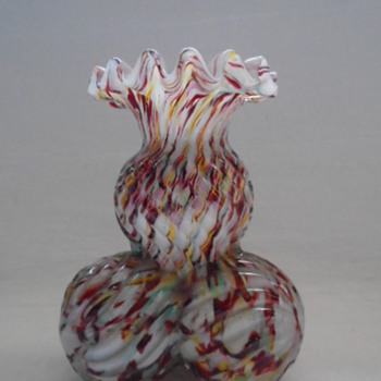 Bohemian Welz Posy Vase on Ribbed Ball Feet   - Art Glass