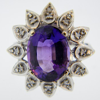 Vintage Deco Amethyst Diamond Dinner 14k Ring  - Fine Jewelry