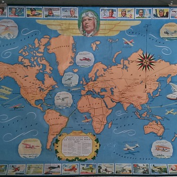 Very Rare H.J. Heinz Famous Flights Map Cir 1936-1937