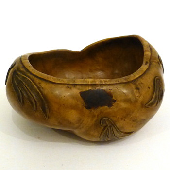 Mystery wood bowl with red laquer mendings- japanese?