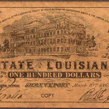 Confederate Currency - Novelty Note (Louisiana) - US Paper Money