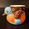 Moriage porcelain duck toothpick holder