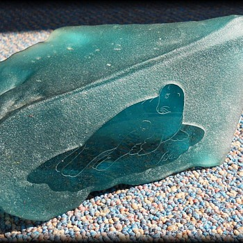 Glass Rock Sculpture - SIGNED SIKU - Glass Sculpture from POLAND  - Art Glass