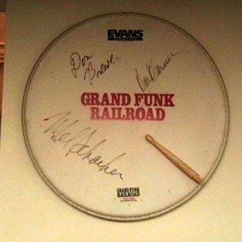 Promo Drumhead Signed by Grand Funk Railroad - Music Memorabilia