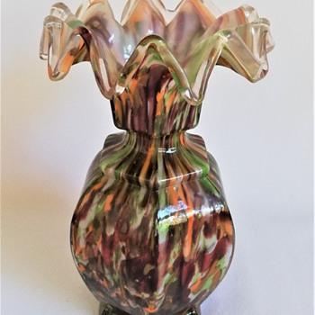 Welz Hexagonal Vase with Zigzag Rim - Art Glass