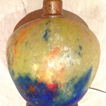 Czech :  Chipped Ice / Glue Chip Yellow and Blue Lamp  - Art Glass