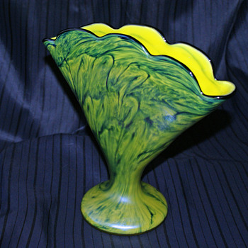 "Welz Iridescent Swirl ""Marbled"" Fan Vase - Art Glass"